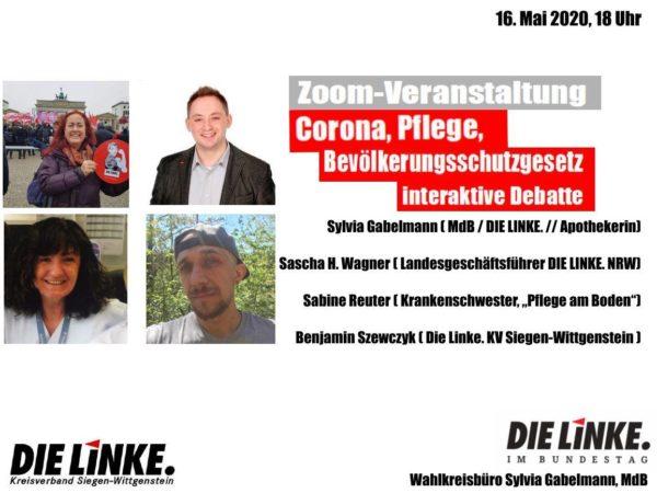 Online-Veranstaltung mit MdB Sylva Gabelmann u.a.: #Corona, #Pflege, #Bevölkerungsschutz(gesetz): Interaktive Debatte zur Pandemie und ihren Folgen