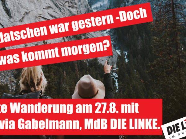 Walk and Talk: Rote Wanderung mit Sylvia Gabelmann (MdB, DIE LINKE.): Klatschen war gestern – Doch was kommt morgen?