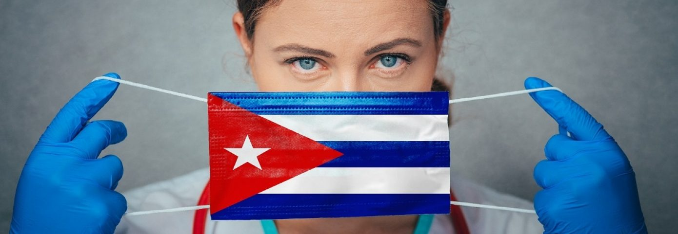Coronavirus in Cuba Female Doctor Portrait hold protect Face surgical medical mask with Cuba National Flag. Illness, Virus Covid-19 in Cuba, concept photo